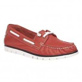 Silverio Red Leather Slip-On Shoes