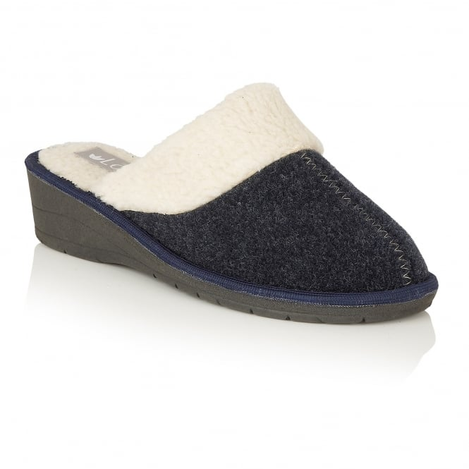 Lotus Slippers Everdeen Navy Faux-Fur Mules