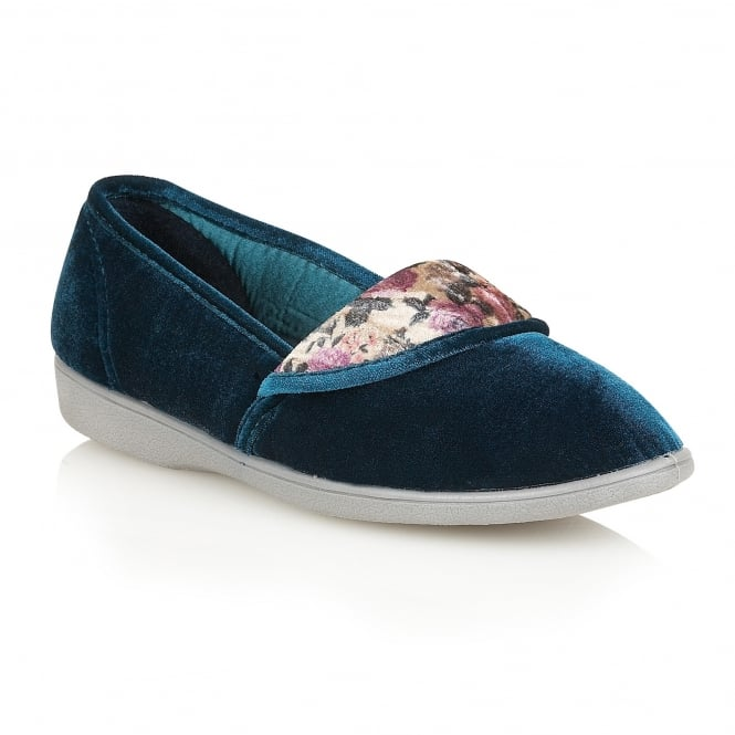 Lotus Slippers Hampion Teal Velvet Slippers