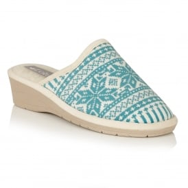 Kale Turquoise Mule Slippers
