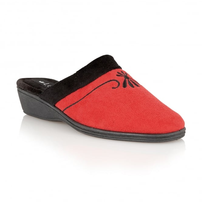 Lotus Slippers Lorinda Red Textile Mules