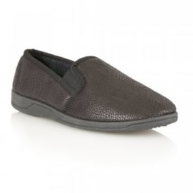 Men's Ashfirth Black Leather Grain Effect Slippers