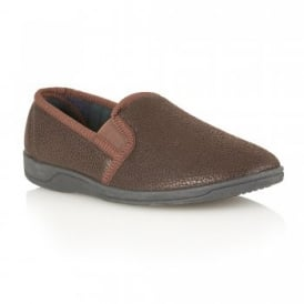 Men's Ashfirth Brown Leather Grain Effect Slippers