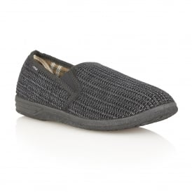 Men's Bevis Black Corduroy Slippers