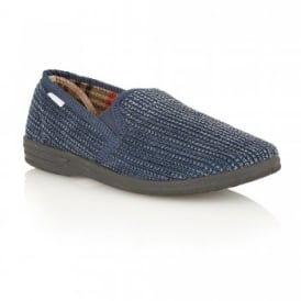Men's Bevis Navy Corduroy Slippers