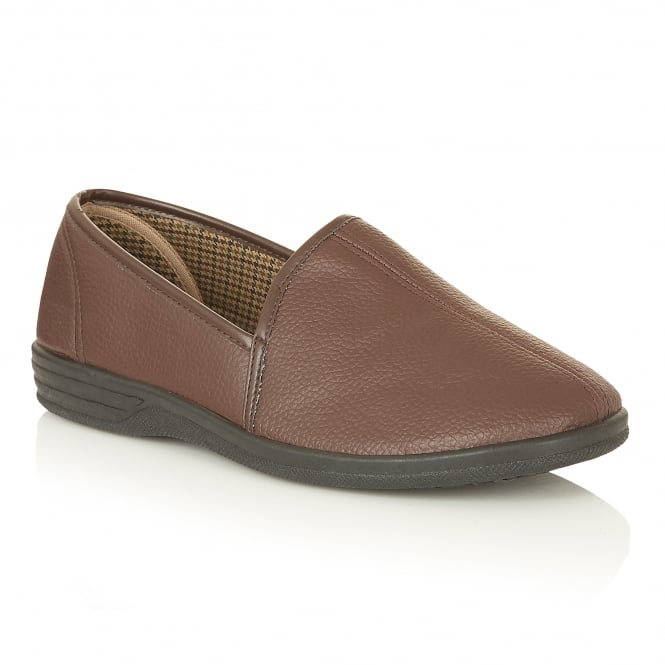 Lotus Slippers Men's Headley Brown Slipper Shoes