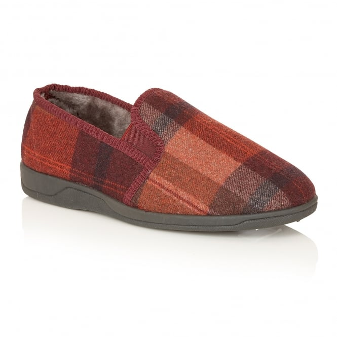 Lotus Slippers Men's Nash Burgundy Check Slipper Shoes