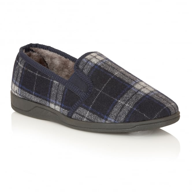 Lotus Slippers Men's Nash Navy Check Slipper Shoes