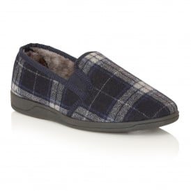 Men's Nash Navy Check Slipper Shoes