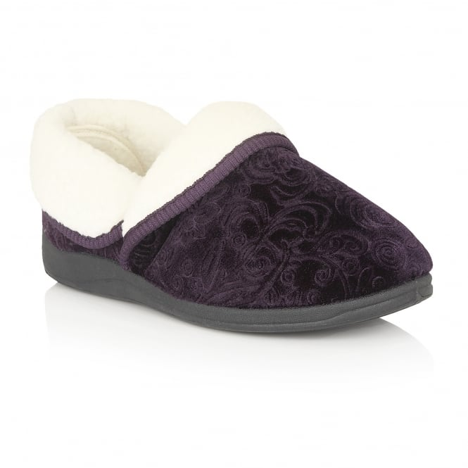 Lotus Slippers Wilsson Purple Faux-Shearling Mules