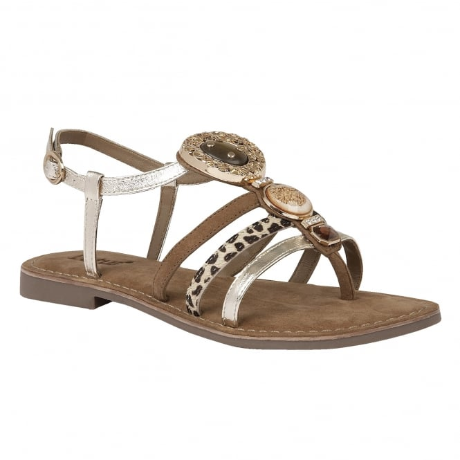 Lotus Soave Gold Multi-Leather Toe-Post Sandals