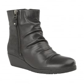 Sonora Black Leather & Print Wedge Boots