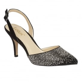 Spinley Black Microfibre & Diamante Sling-Back Court Shoes