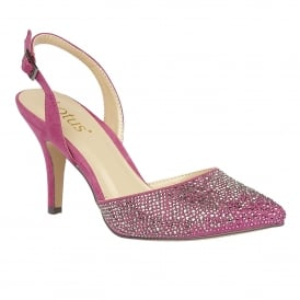 Spinley Fuchsia Microfibre & Diamante Sling-Back Court Shoes