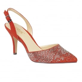 Spinley Orange Microfibre & Diamante Sling-Back Court Shoes