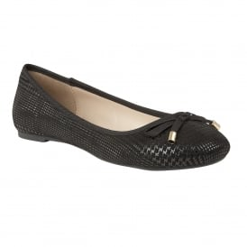 Tenley Black Lizard Print Ballerina Shoes