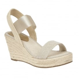 Tico Gold Open-Toe Wedge Sandals