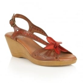Trevi Tan & Red Leather Wedge Sandals
