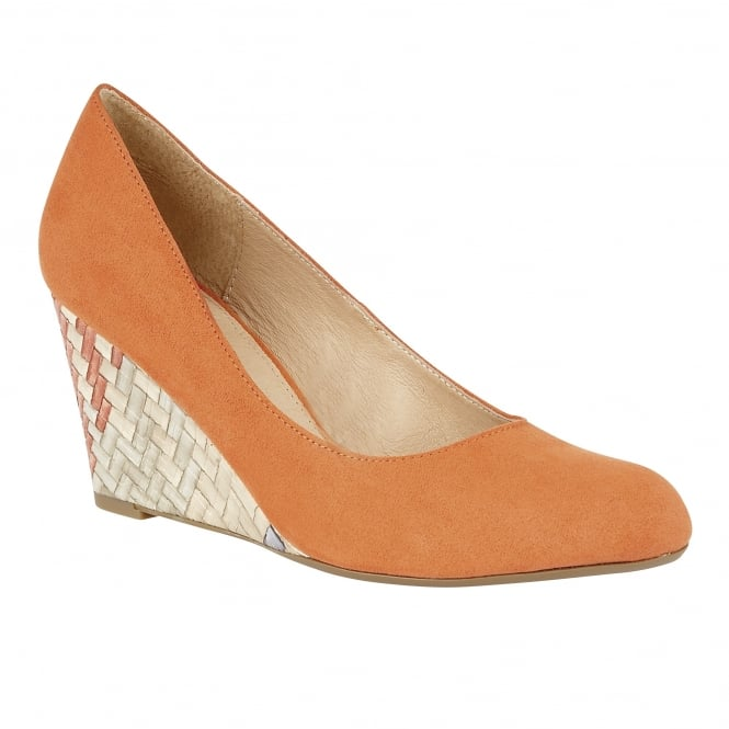 Lotus Trinity Orange Microfibre Wedge Pumps