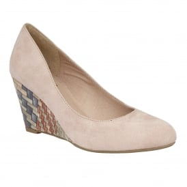 Trinity Sand Microfibre Wedge Pumps