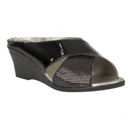 Trino Black Patent Leather & Snake Print Open-Toe Mule Sandals