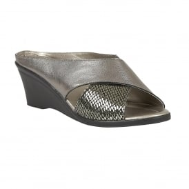 Trino Pewter Leather & Snake Print Open-Toe Mule Sandals