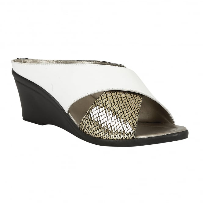 Lotus Trino White Leather & Platino Snake-Print Open-Toe Mule Sandals