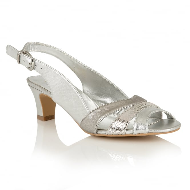 Lotus Valeria Silver Leather Sling-Back Sandals
