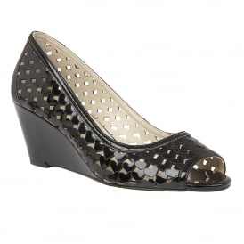 Valetta Black Shiny Lazer-Cut Wedge Shoes