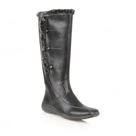 Volcanic Black Faux-Leather Knee-High Boots