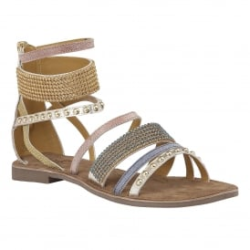Wren Gold Multi Leather Ankle Strap Sandals