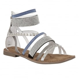 Wren Silver Multi Leather Ankle Strap Sandals