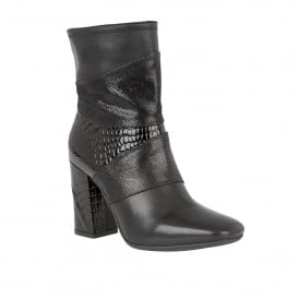 Zania Black Multi Leather Ankle Boots