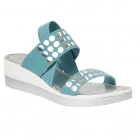 Zelland Turquoise Elastic & Silver Wedge Sandals