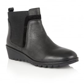 Zinnia Black Leather Ankle Boots