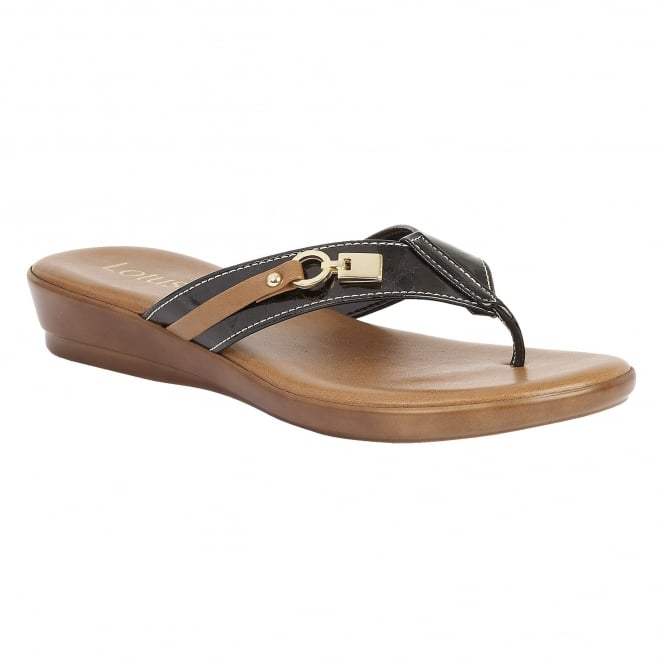 Lotus Zorzi Black & Tan Matt Toe-Post Sandals
