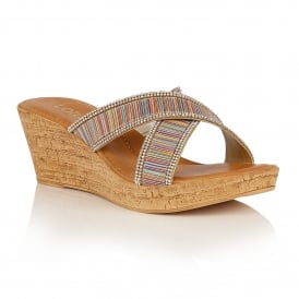 Multi Stripe Arika Wedge Sandals | Lotus