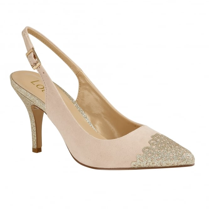 Natural & Gold Glitz Arlind Sling-Back Court Shoes | Lotus