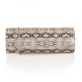 Natural Snake Printed Libby Clutch Bag | Lotus