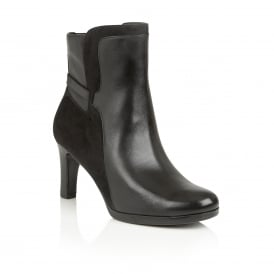 Allison Black Leather Ankle Boots