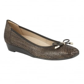 Dove Bronze Leather & Snake Print Wedge Pumps
