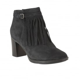 Fortunate Black Suede Heeled Ankle Boots | Naturalizer
