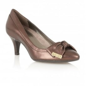 Guiliana Bronze Metallic Leather Court Shoes