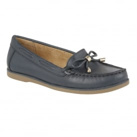 Hadlie Navy Leather Boat Shoes