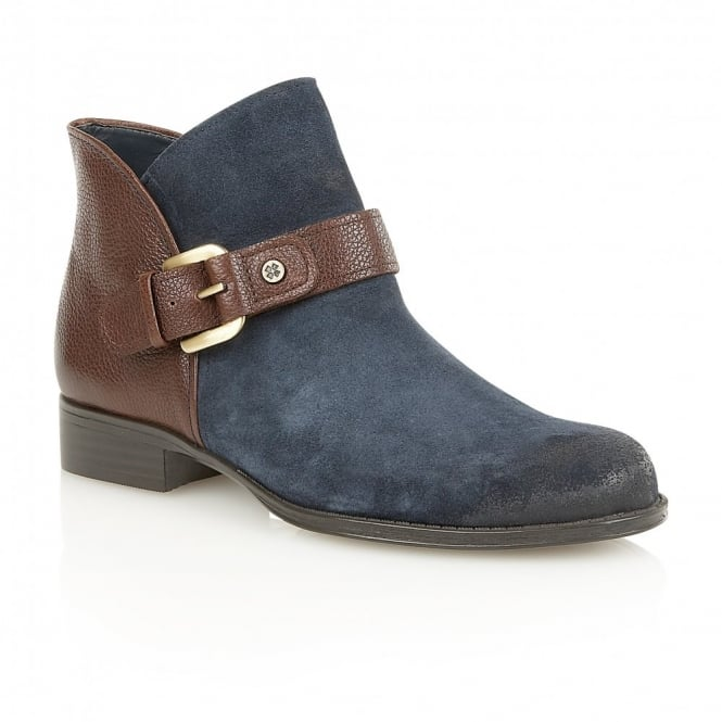 Naturalizer Shoes Jarret Navy Suede & Brown Leather Ankle Boots