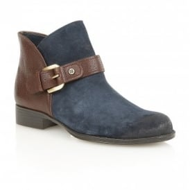 Jarret Navy Suede & Brown Leather Ankle Boots