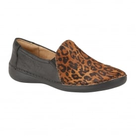 Karah Black Leather & Cheetah Print Loafer Shoes