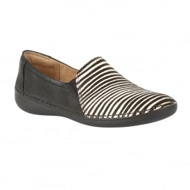 Karah Black Leather & Zebra Print Loafer Shoes