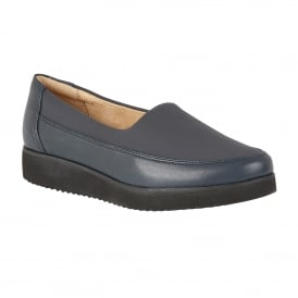 Neoma Navy Leather Slip-On Pumps