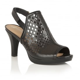 Pola Black Leather Sling-Back Shoes
